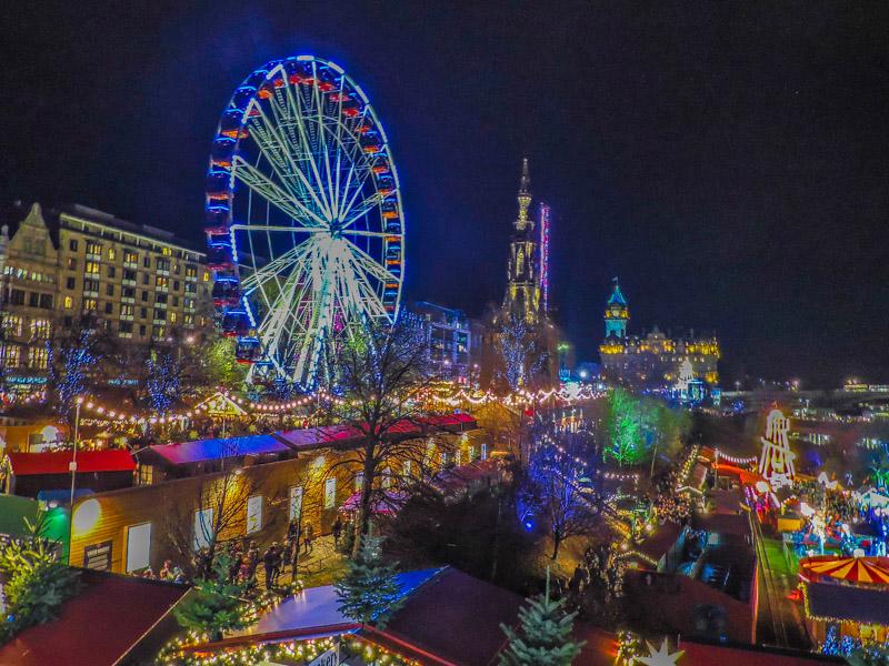 Edinburgh Christmas Market At Night.